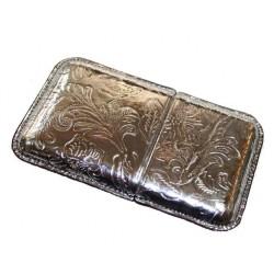 Etui cartes de visite cuir jet set silver