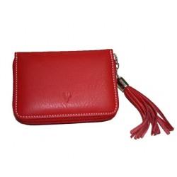 Porte-monnaie et cartes cuir riviera rouge