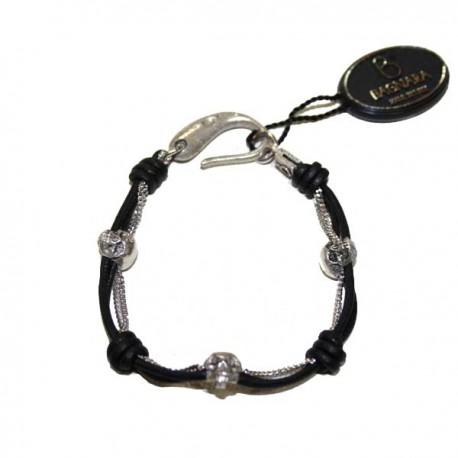 Bracelet cuir Bagnara skull silver