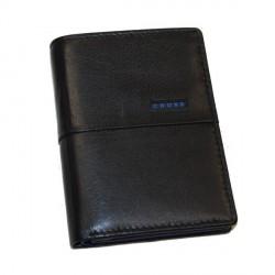 Portefeuille Cross ID CR cuir noir et bleu