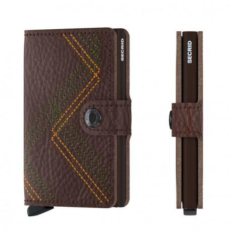 Porte cartes Miniwallet Secrid Stitch Linea Espresso
