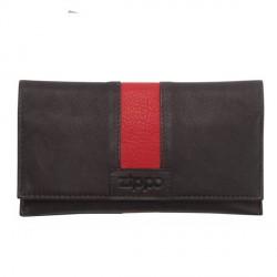 Blague à tabac Zippo cuir noir et rouge