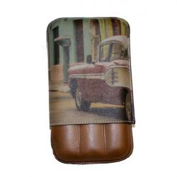 Etui 3 cigares cuir impréssion Havana Récife