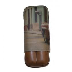 Etui 2 cigares cuir impréssion Havana Récife