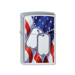 Zippo flag and dog tags