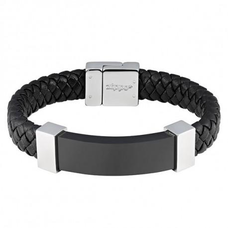 Bracelet Cuir tressé et acier Zippo