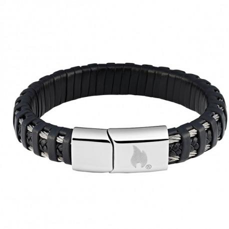 Bracelet cuir tressé et fils métalliques Zippo