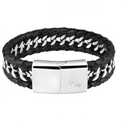 Bracelet mixte Cuir et Acier Zippo